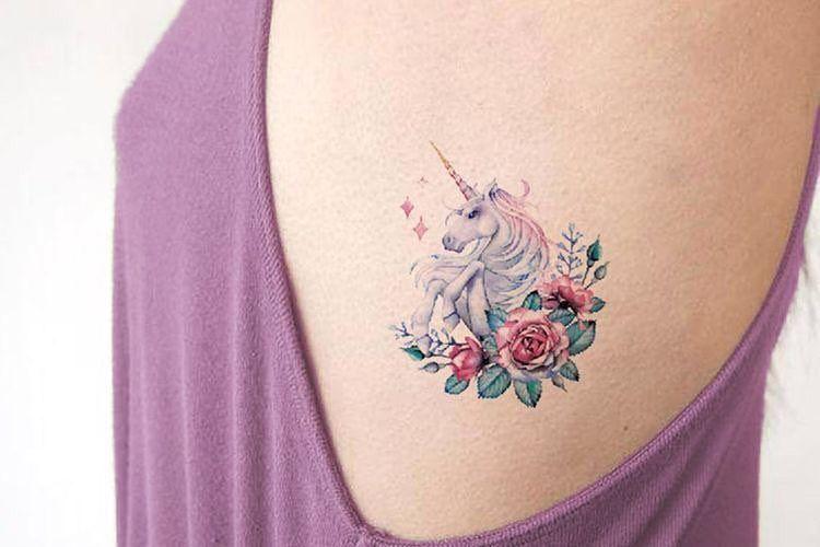 Girly Tattoo Unicorn Colorful Beauty Flowers Pink Purple