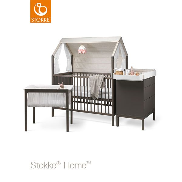 stokke home bed hazy grey inkl dach dresser changer cradle grey pinterest wickelaufsatz. Black Bedroom Furniture Sets. Home Design Ideas