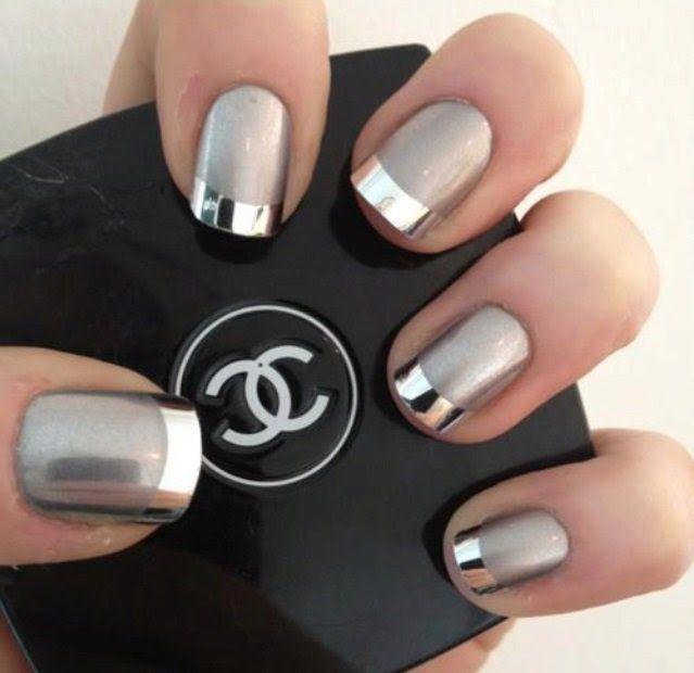 manicure francés puntas efecto espejo | Uñas | Pinterest | Puntadas ...