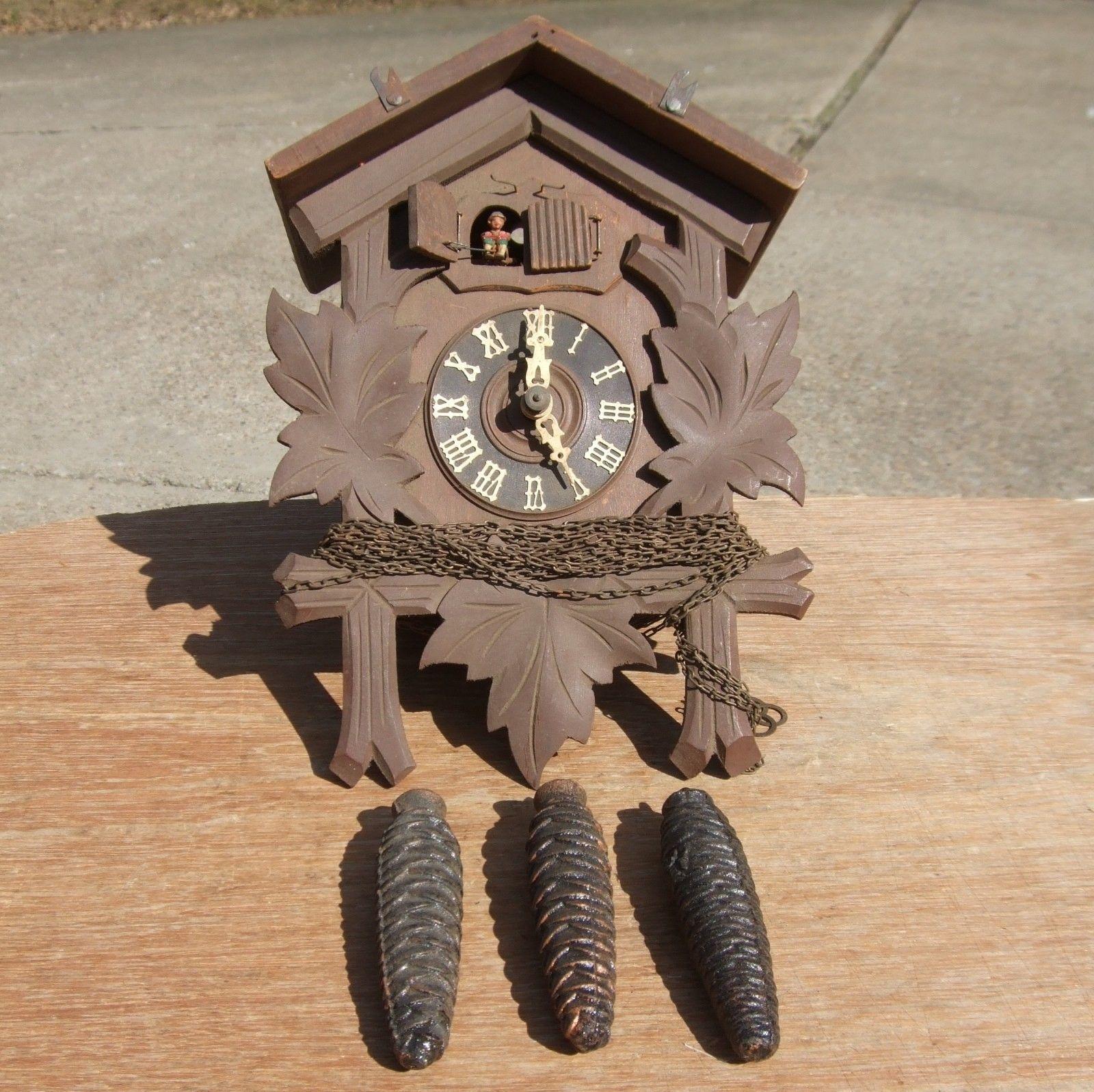 Vintage German Musical Cuckoo Clock, Repair Parts, Nice Music Box