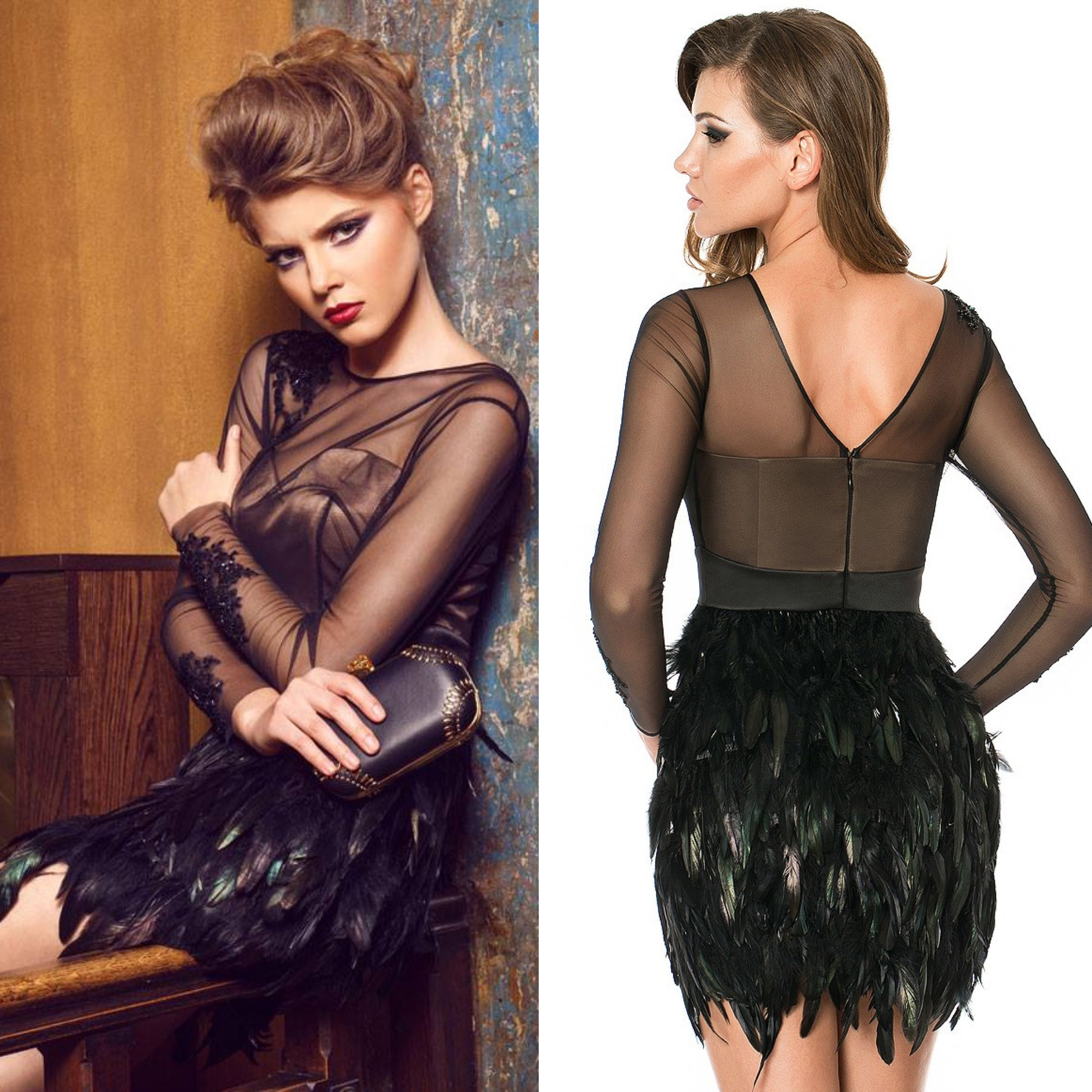 Powerful feathered cocktail dress! Capture the spotlight in this elegant and sophisticated CRISTALLINI cocktail dress, the perfect choice for your upcoming special event! This formal cocktail dress has an amazing style with a sheer overlay bodice and a stunning skirt with feathers, creating a perfect party look. You can shop this dress from our online store, the shipping is very fast and it's free worldwide: http://shop.cristallini.com/cristallini-ska160