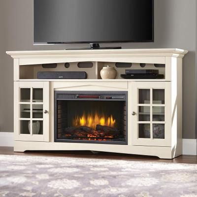Home Decorators Collection Avondale Grove 59 In Tv Stand Infrared Electric Fireplace In Aged White 365 166 165 Y The Home Depot Tv Console With Fireplace White Electric Fireplace Electric Fireplace Tv Stand