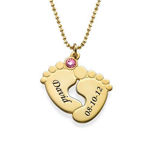 f2bb0e3c3863 Collar de Piecitos Personalizados chapados en oro en 2019