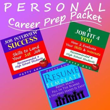 Career Prep Packet \u003d Resume Template + Skill Assessments + Job - social worker resume