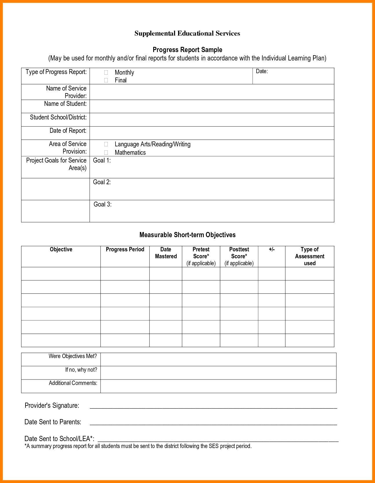 The Terrific Progress Report Format Student Progress Report Template Pdf Inside School Progress Report School Report Card Report Card Template Progress Report