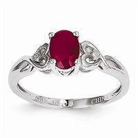 Birth Month Rings - 14k Gold White Gold Genuine Ruby Diamond Ring