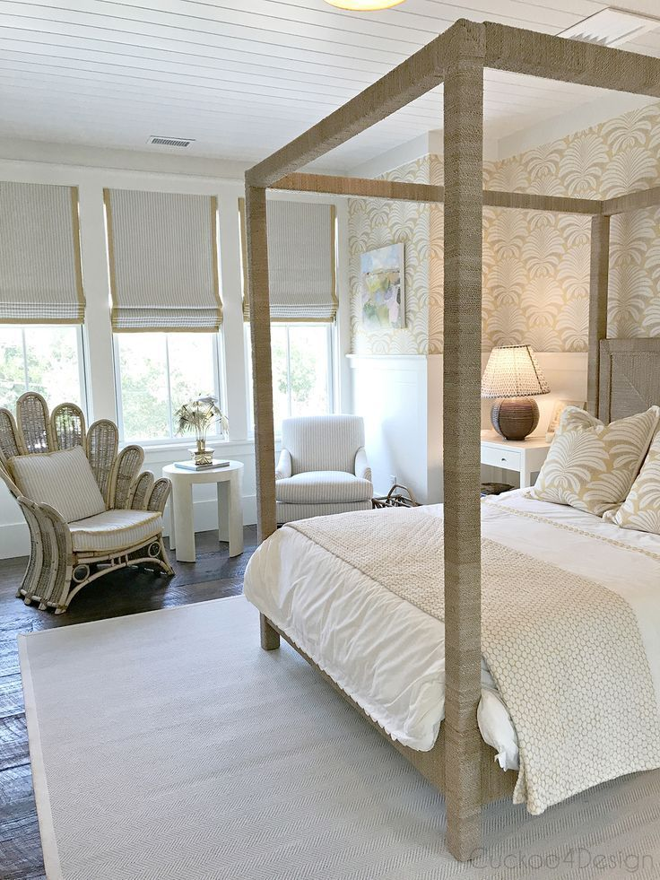 vintage wrapped rope canopy bed in master bedroom with