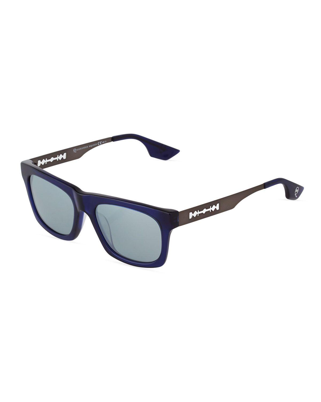 McQ Alexander McQueen Two-Tone Rectangle Acetate Sunglasses, Blue/Matte Dark Ruthenium