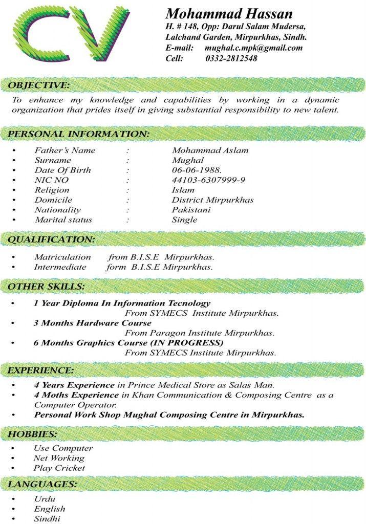 CV Format For Matric Intermediate MS Word Resume