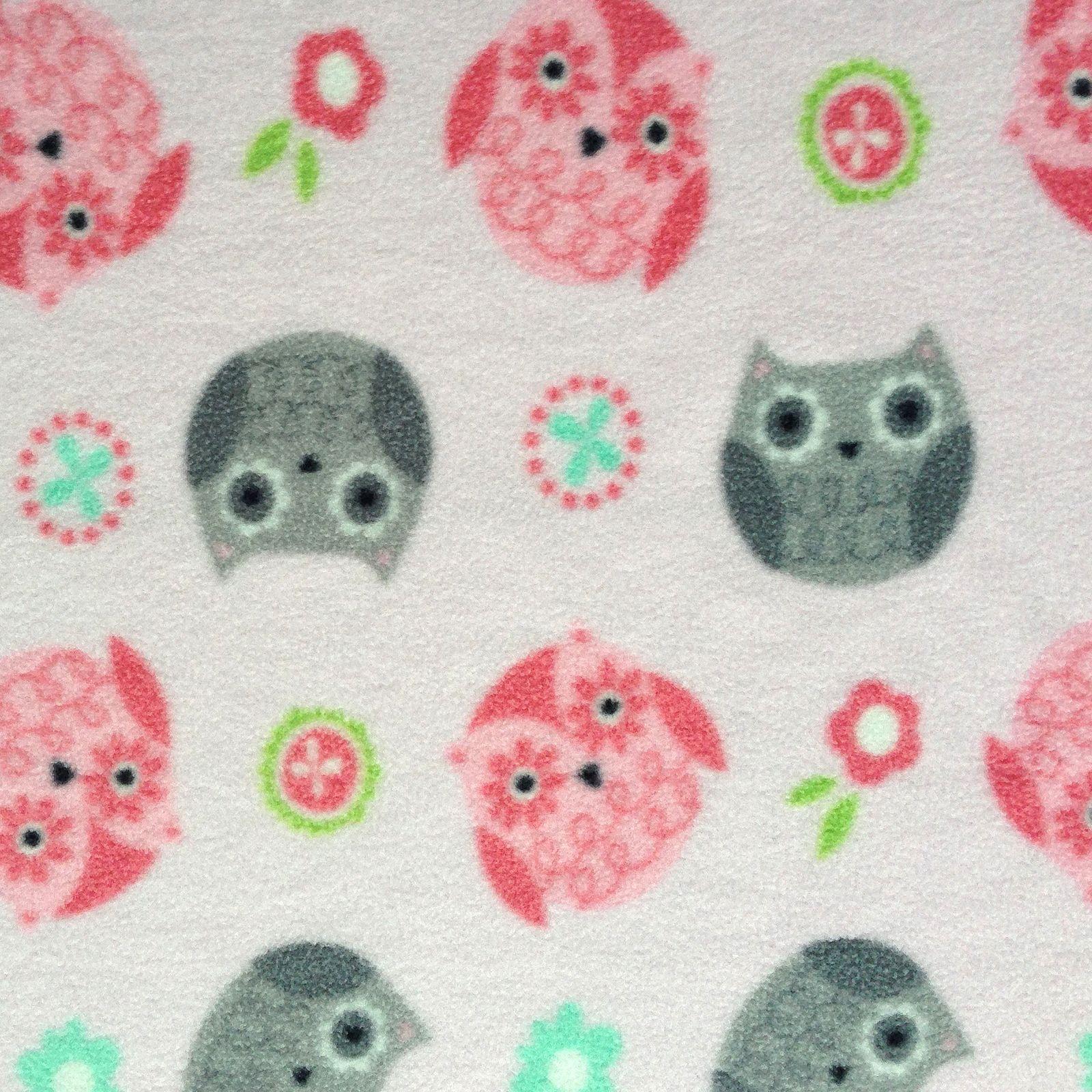 Nursery fabric tossed owls pink fleecenursery fabric tossed owls
