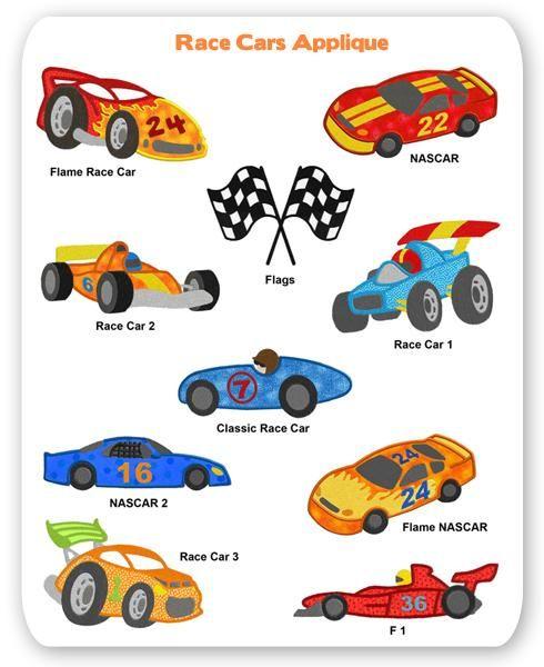 Race Car Embroidery Applique Designs Nascar Formula One