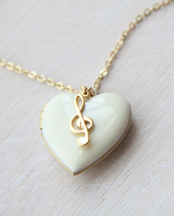 Musical White Enamelled Heart Locket charm Necklace ...