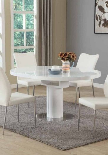 Contemporary White Round Extendable Dining Table Round Dining