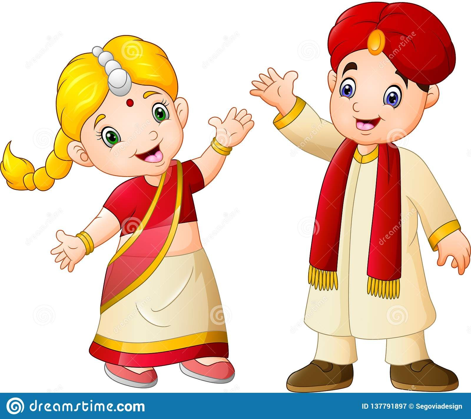 6c0e7cb87c Illustration about Illustration of Cartoon indian couple wearing  traditional costumes. Illustration of india, greeting, culture - 137791897