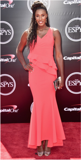 Get the Look: Lisa Leslie's Ruffled Gown from the 2016 ESPYS Red Carpet