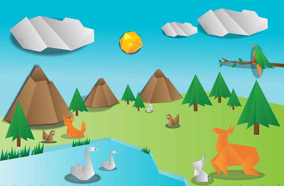 20 Gambar Pemandangan Alam Dari Kertas Origami Kertas Warna Bekas Asturo Origami Dan Lainnya Cara Pembuatan Kreasi Ini Adalah To Di 2020 Pemandangan Origami Gambar