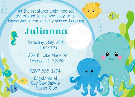 printable under the sea baby shower by partyinnovations09 on etsy, Baby shower invitations