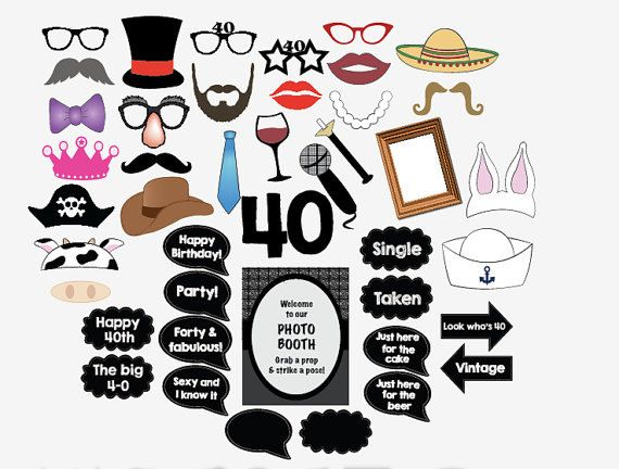 digital 40th birthday photo booth props forty by redmorningstudios, $8.99