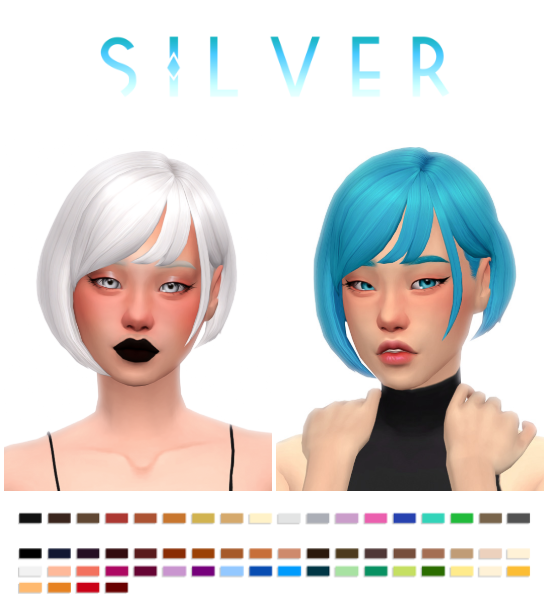 Silver Hair By Simandy In 2020 Sims Hair Sims 4 Sims 4 Anime