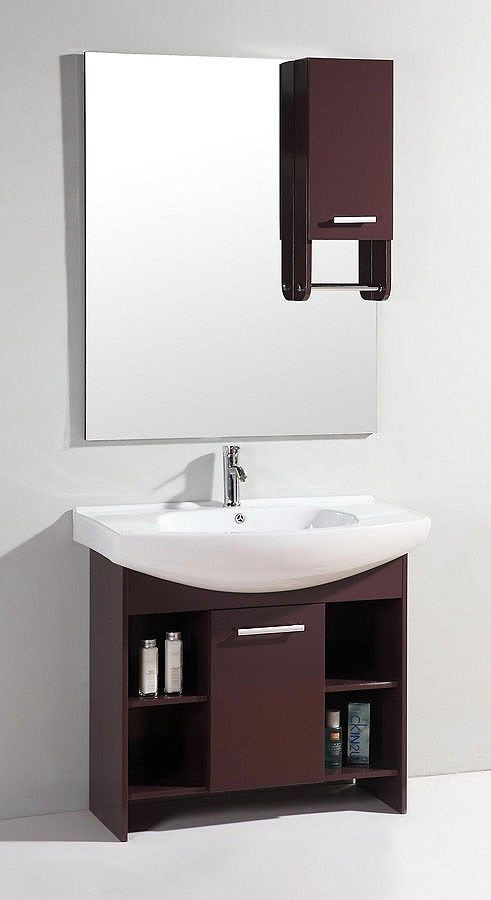 36 modern single sink bathroom vanity cabinet with ceramic sink wt9107 sd - Modern Single Sink Bathroom Vanities
