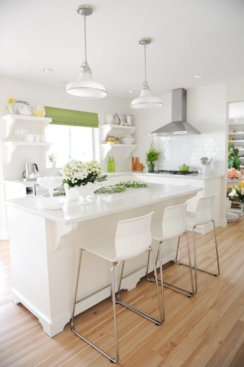 Beautiful White And Green Kitchen With Island And Cabinets Painted