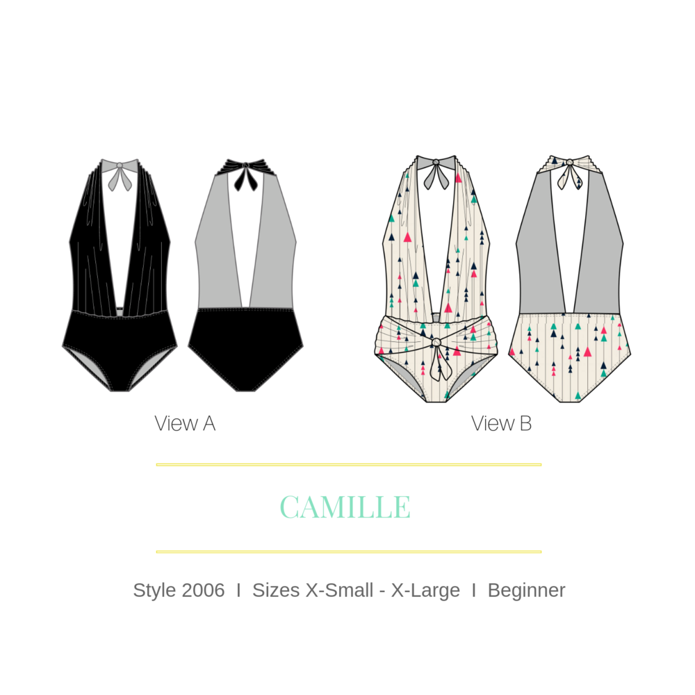 Camille Halter High Waisted Open Back Sexy One Piece – PDF Swimsuit Pattern -All sizes included
