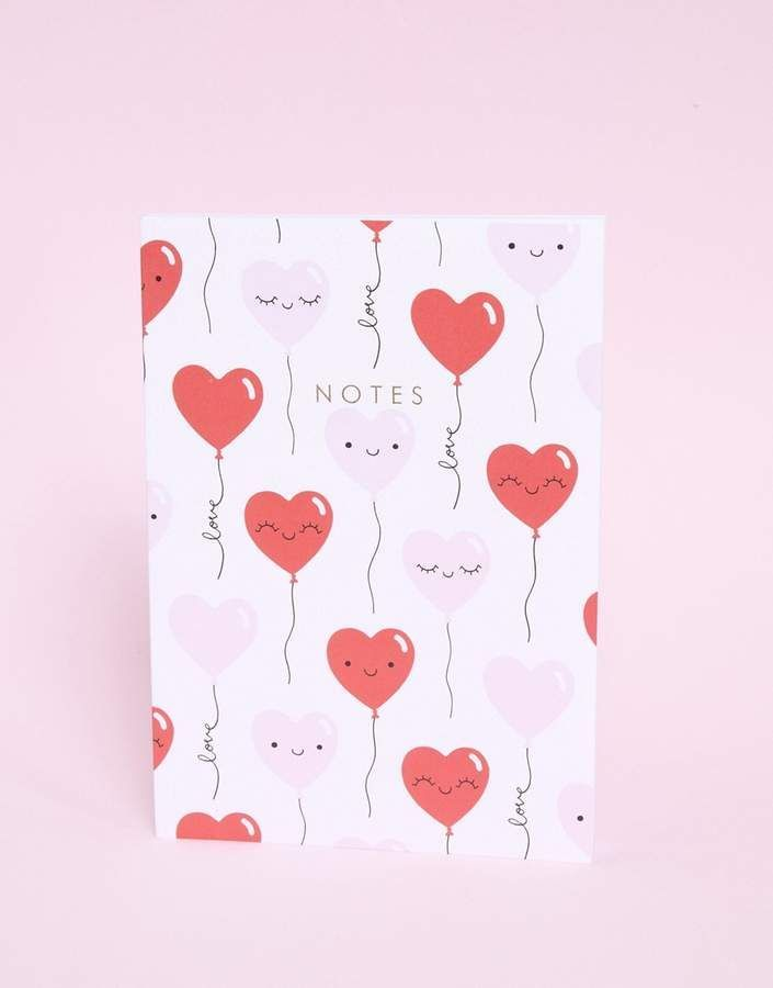 Extremely Cute Love Heart Balloons Valentines Notebook! Love this! All about the cute stationery. #ad #stationery #kawaii #hearts #valentines