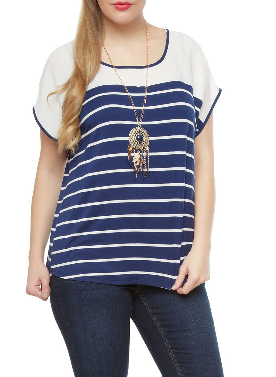 210518be127 Plus Size Striped Top With Dreamcatcher Necklace