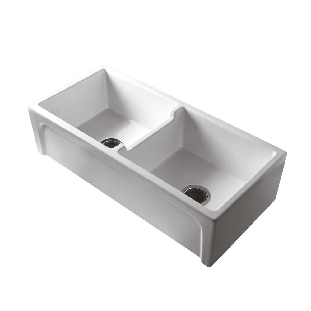 Barclay Products Myron Farmhouse Apron Front Fireclay 39 In 50 50 Double Bowl Kitchen Sink In White In 2020 Double Bowl Kitchen Sink Farmhouse Sink Kitchen