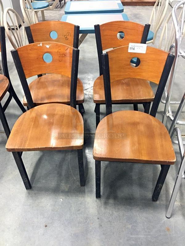 Wooden Back Circle Hole Wooden Seat Matte Black Metal Dinning