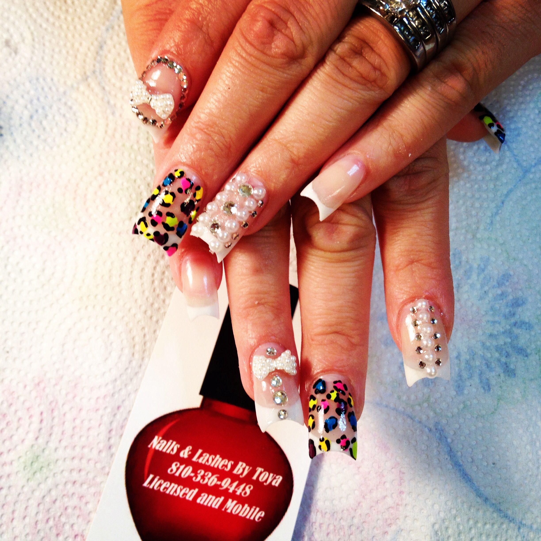 Moon dip nails pink and white nails rhinestone nails colorful nails ...