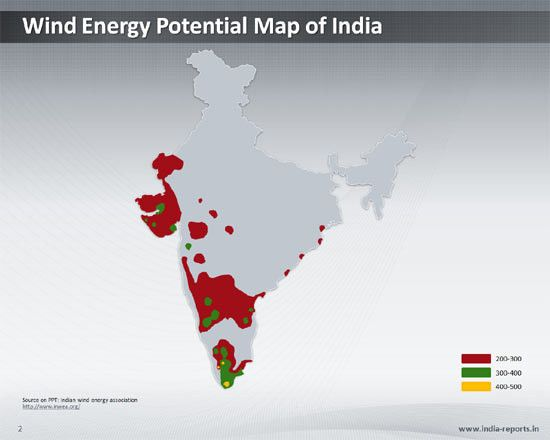 Map of Wind Energy Potential in India - Downloadable PPT Slide