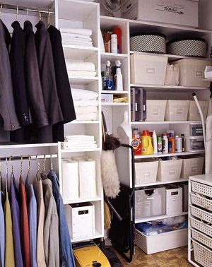 Downstairs bathroom closet organization