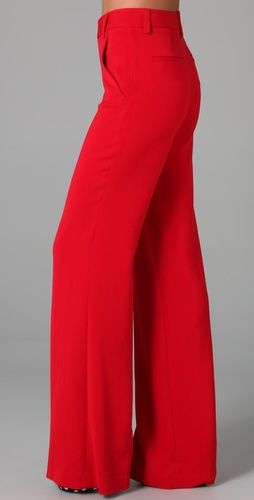 916888ef5f21 Can I please shoot wedding in these Alice + Olivia high waisted wide leg  fire engine red pants? They are $138 on shopbop.com