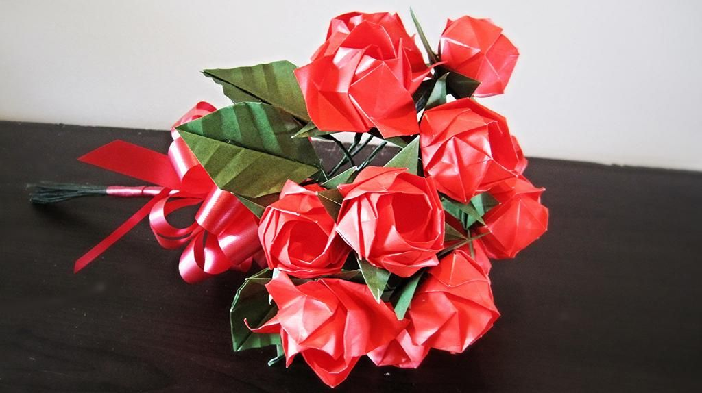 Valentines idea Origami Flowers Rose Bouquet #valentinesday#roses#romantic