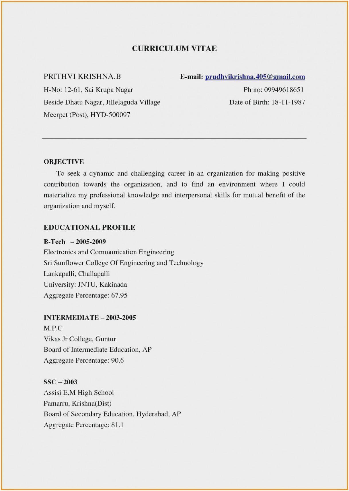 Resume Format For Job Fresher