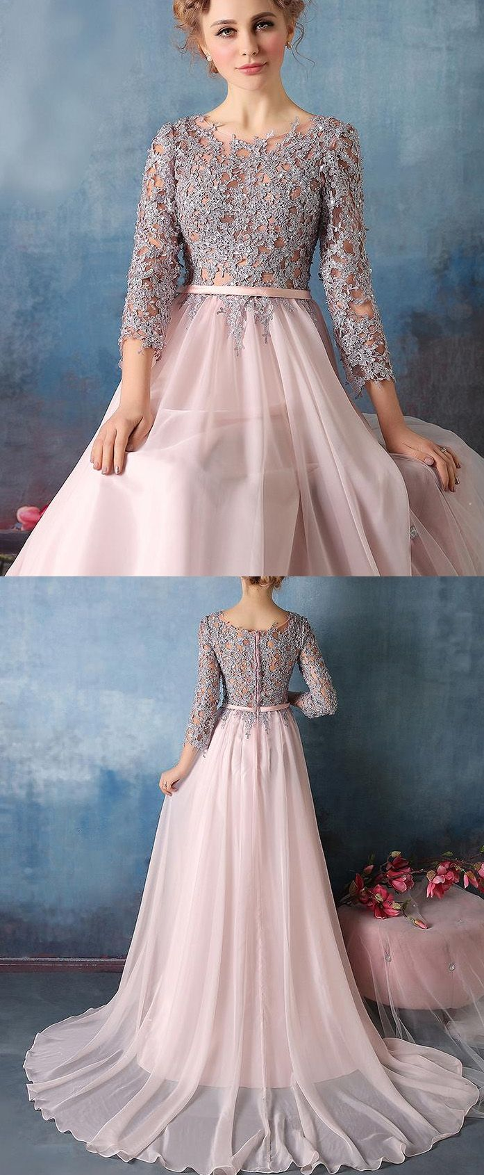 Sleeves Dresses Long Grey Evening Prom Dresses With Applique Zipper ...