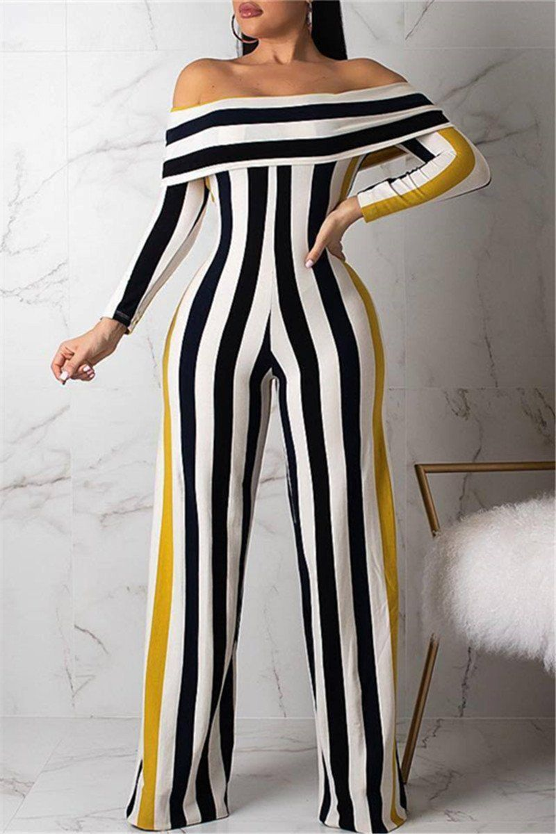 90s Black Striped Jumpsuit with loose leg fit  MEDIUM