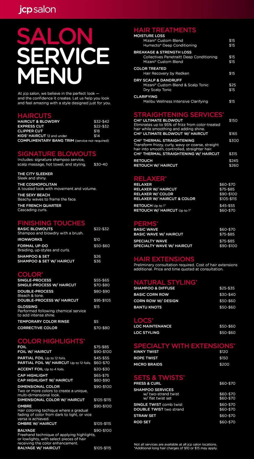 Jcp Salon Located Inside Jcpenney Service Menu  Business