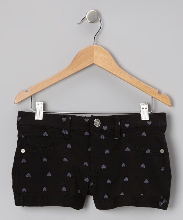 Take a look at this Vigoss Black & Ice Gray Heart Love Shorts - Girls on zulily today!