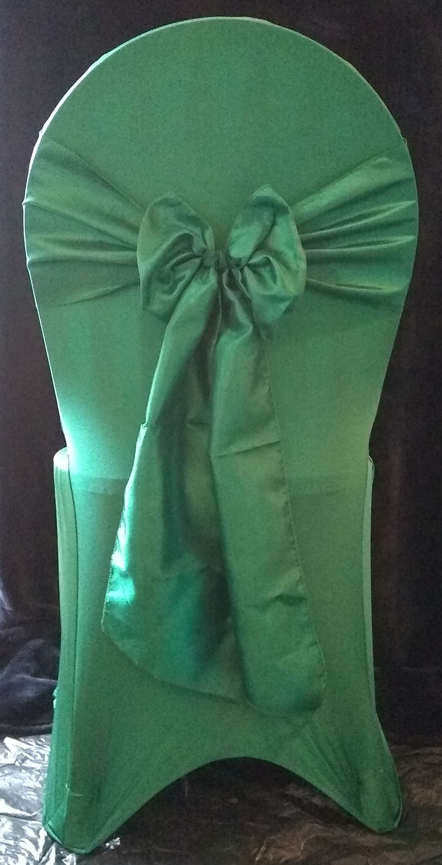 Hunter Green stretch lycra chair cover with matching