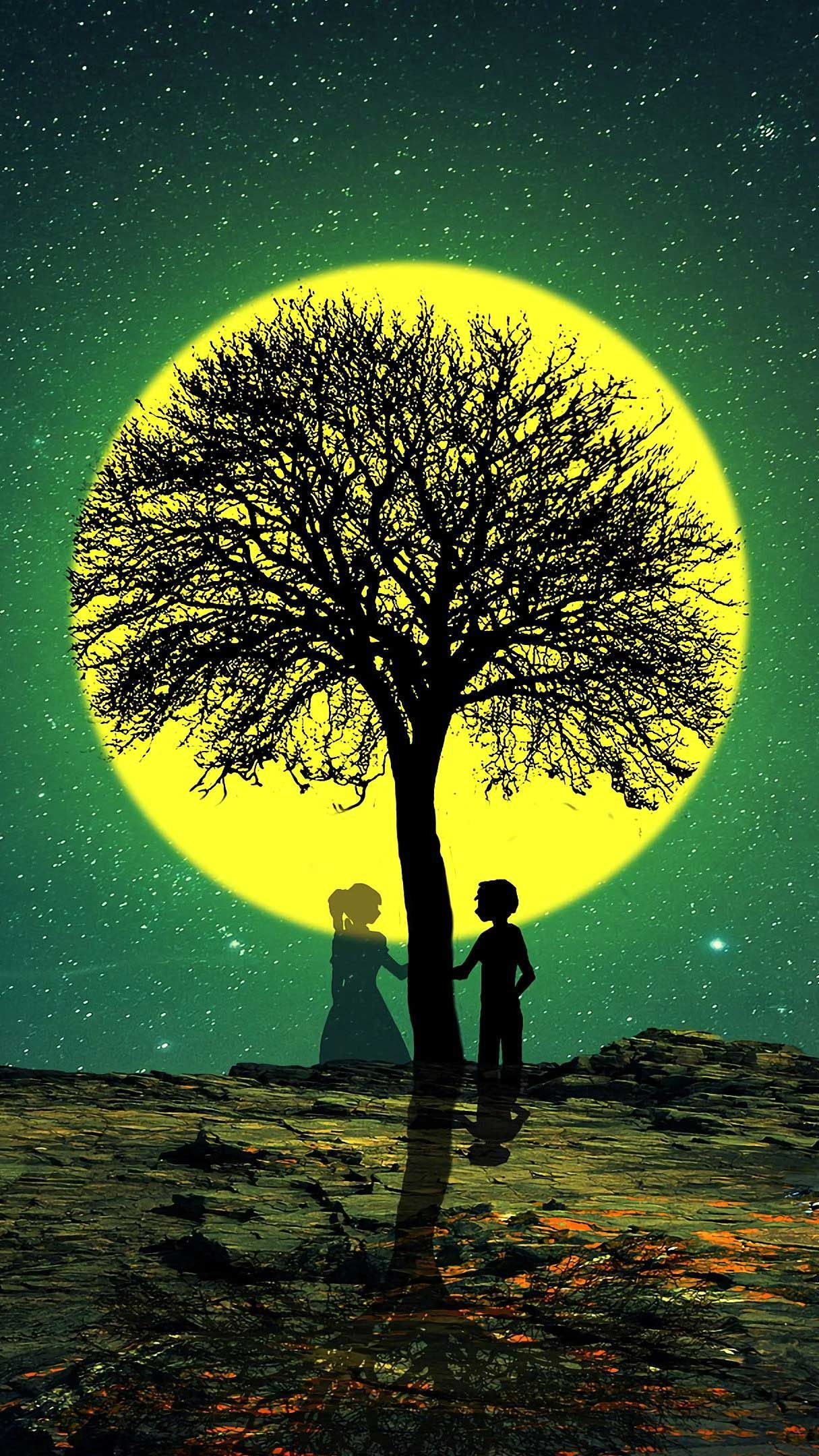 Silhouettes Love Tree Iphone Wallpapers Hd Best Nature Wallpapers Cool Backgrounds Love Wallpaper