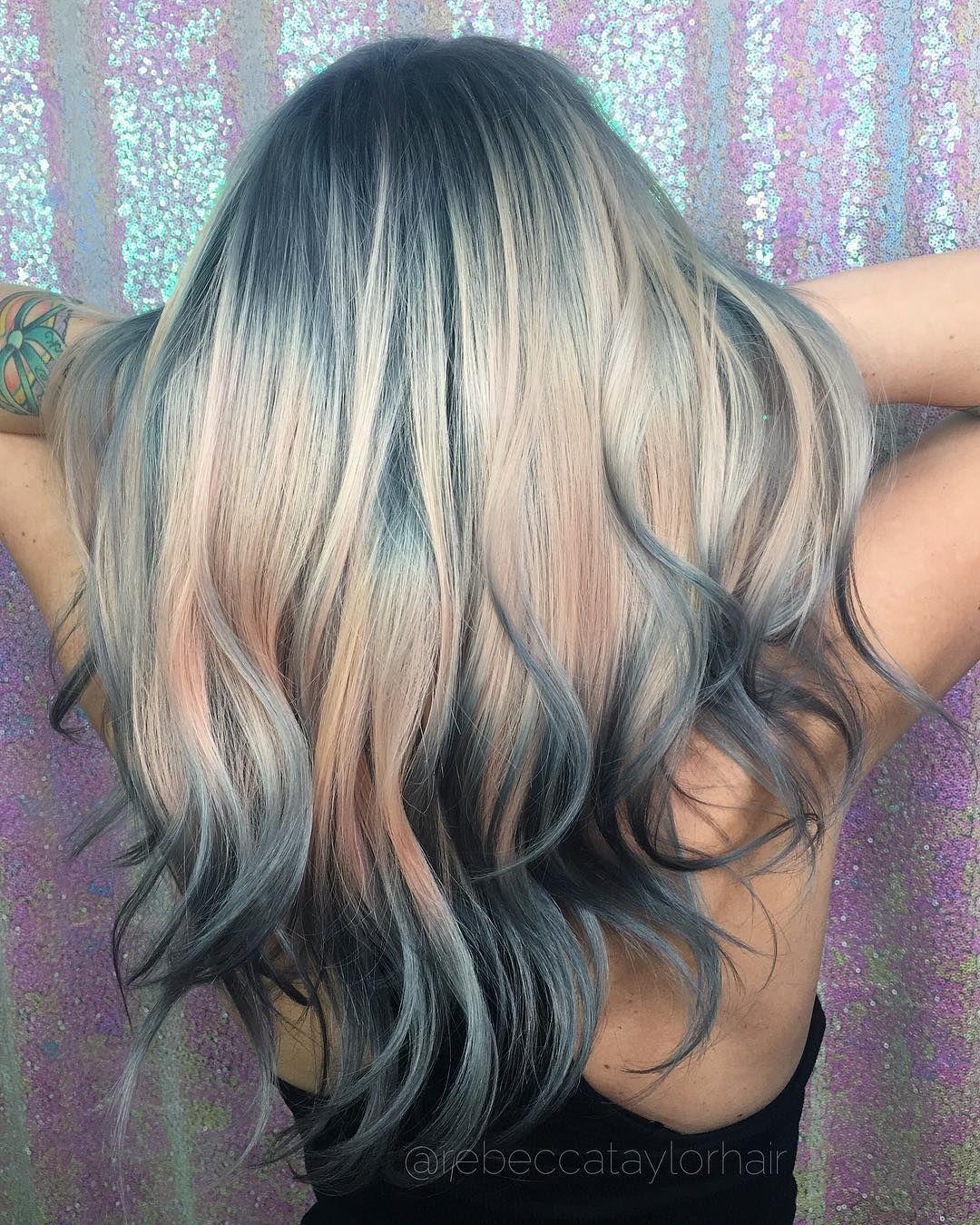 ombre teal blue rainbow hair | hair@aaashleee | pinterest