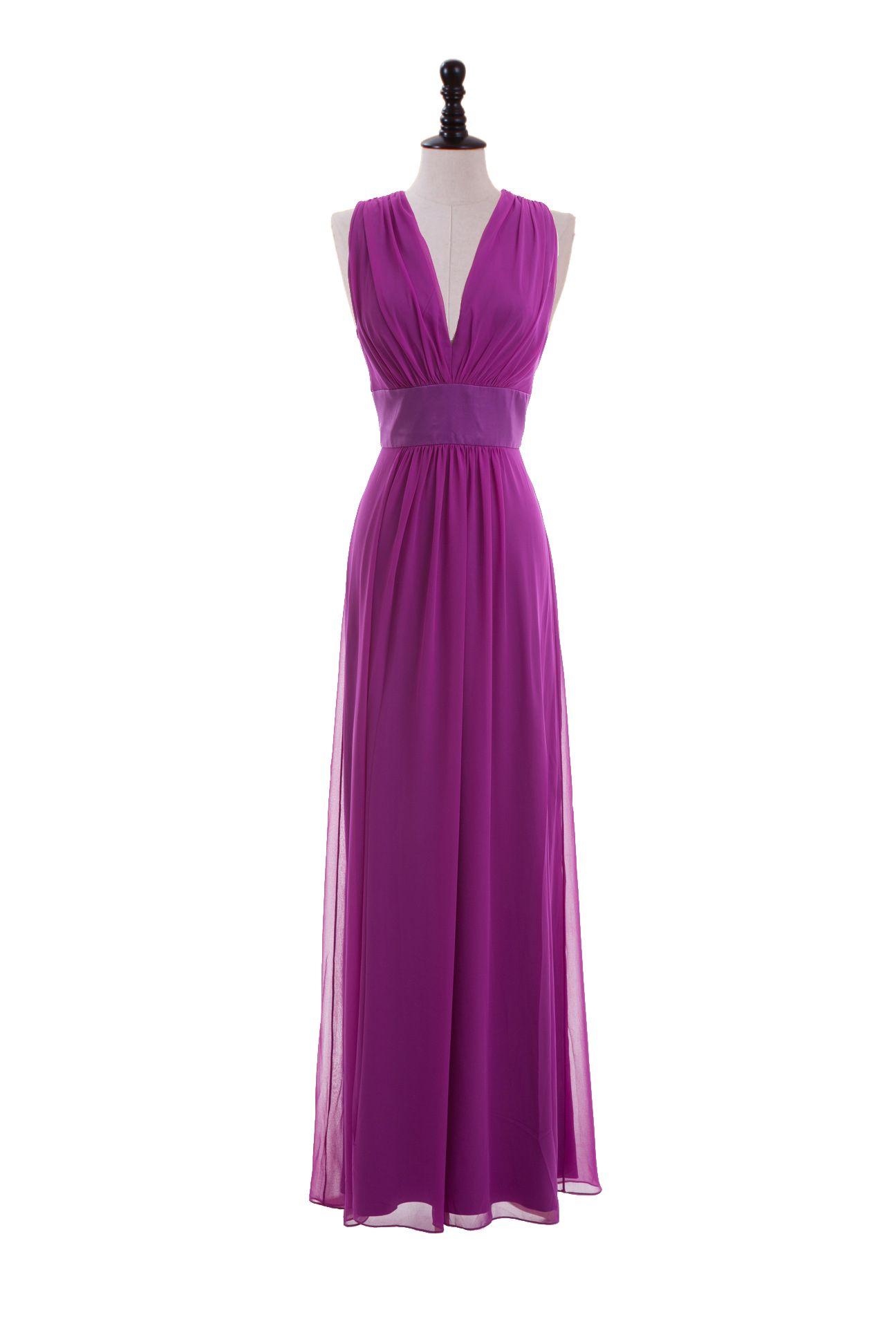 V-Neck Chiffon Dress with Inset Waistband | Mode | Pinterest | Traje ...
