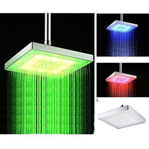 8 Inch Temperature Control Heat Sensor Colorful Chrome Led Rain Shower Head Faucetsuperdeal Com Led Shower Head Rain Shower Rain Shower Head