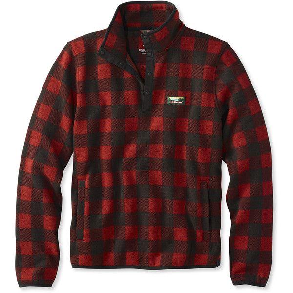 L L Bean Sweater Fleece Pullover Buffalo Plaid 74