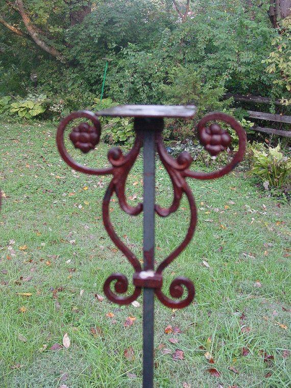Birdhouse Or Bird Feeder Stand Of Welded Steel By Inspiredgardens