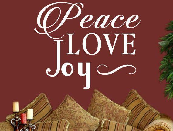 Peace Love Joy Vinyl Wall Decal Custom Vinyl Lettering Custom - Custom vinyl lettering wall decals