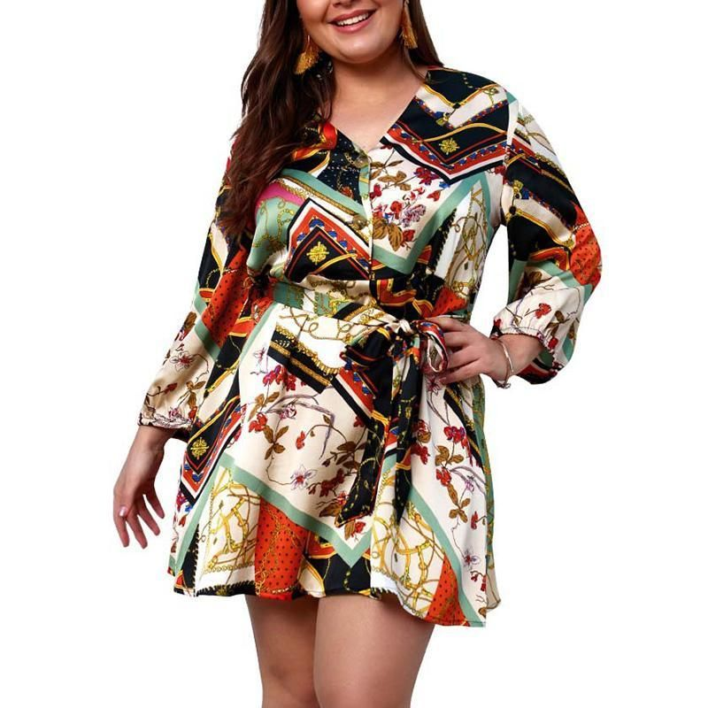 Female Spring And Summer Long Sleeves Waist Printing V Collar Large Mini Dress