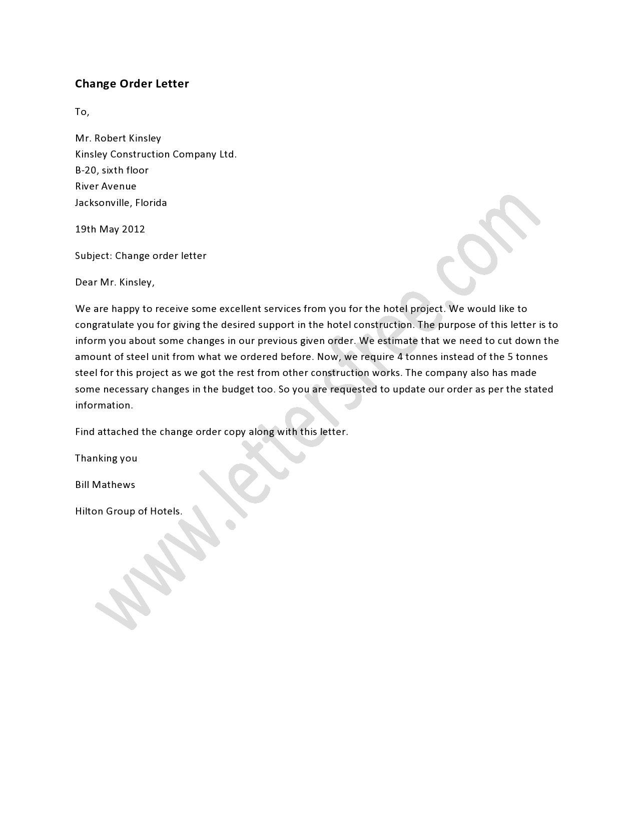 Change Order Letter  Order Letter